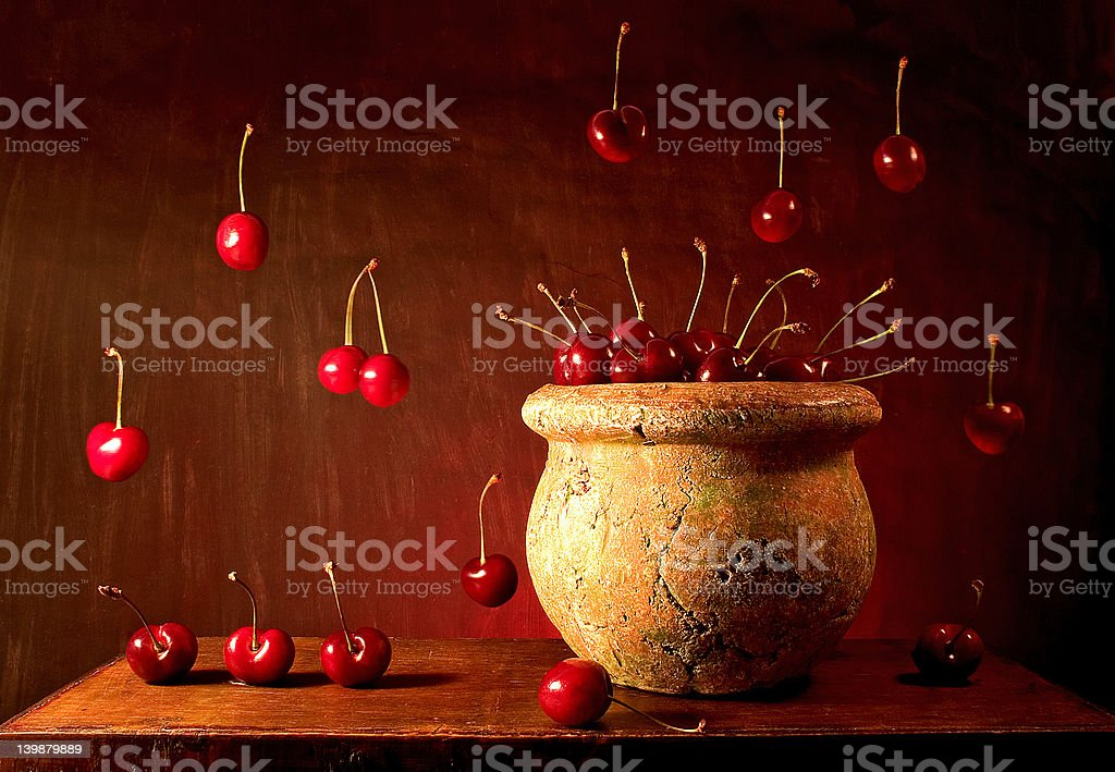 Flying Cherries royalty-free stock photo