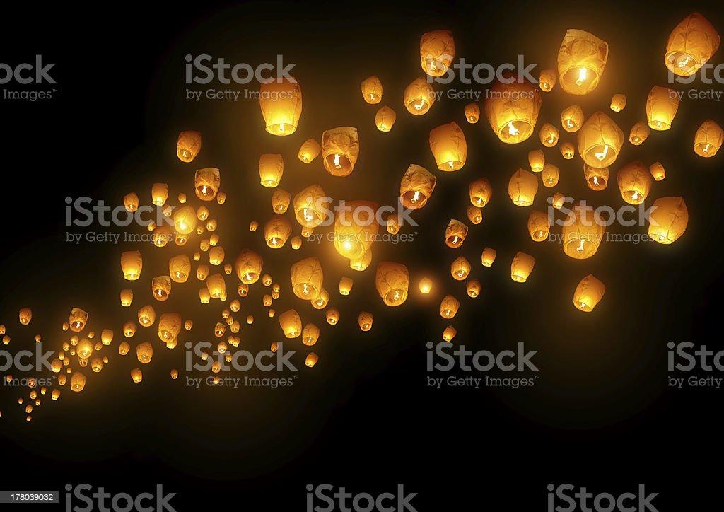 Flying Chinese Lanterns stock photo