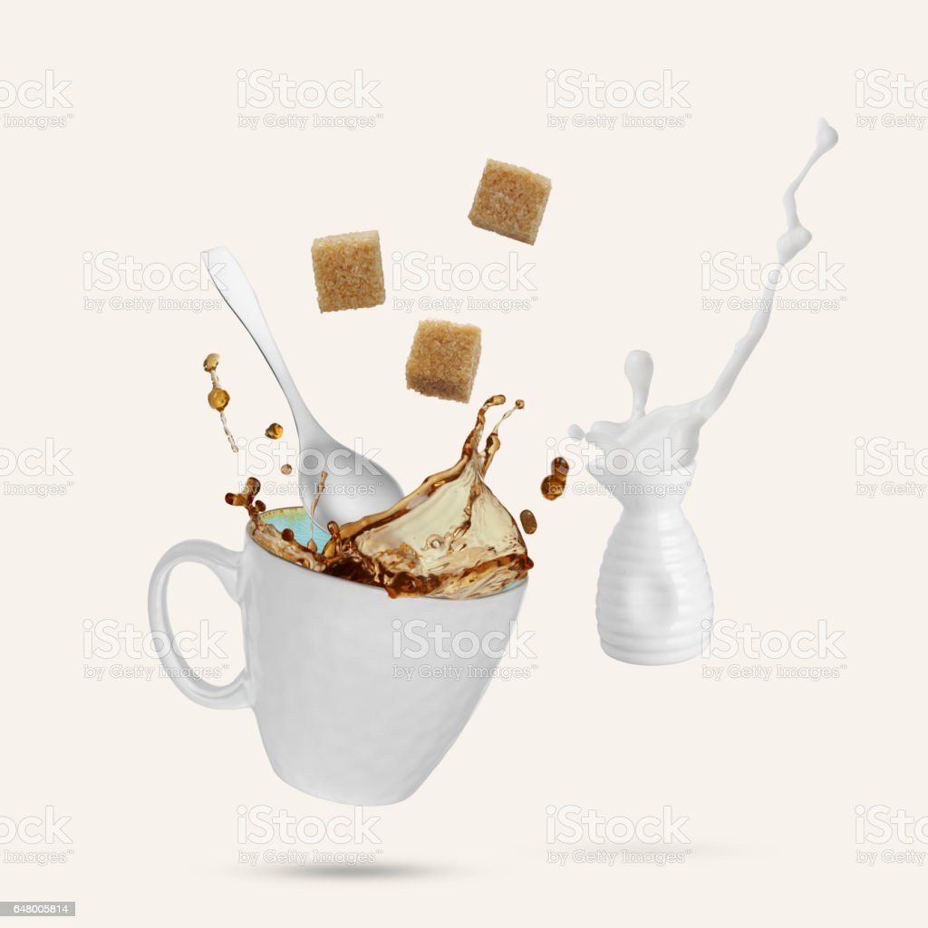 Flying coffee and milk stock photo