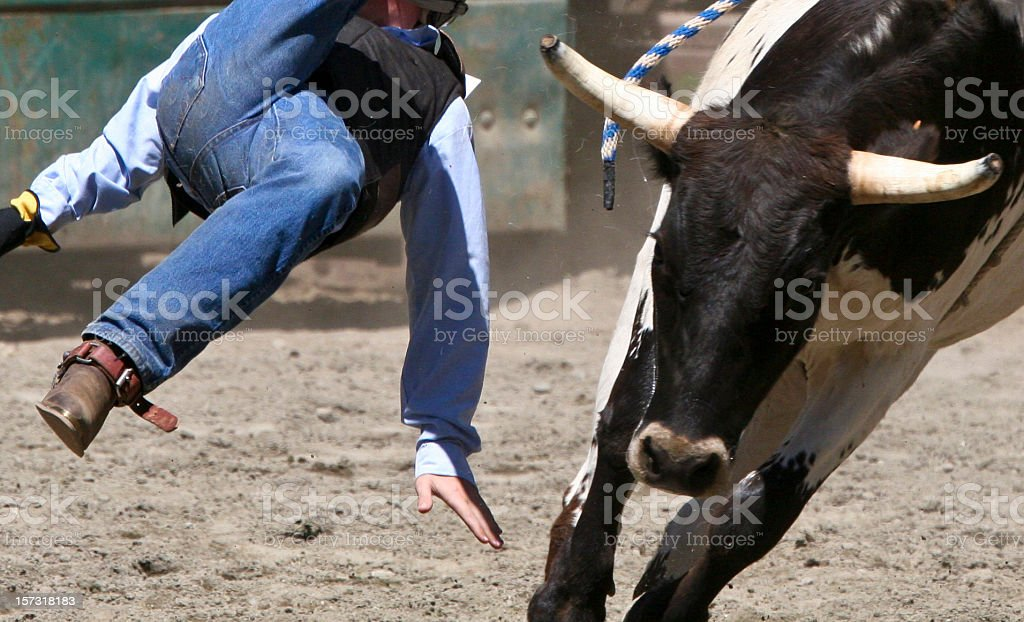Flying Cowboy off a Bull stock photo