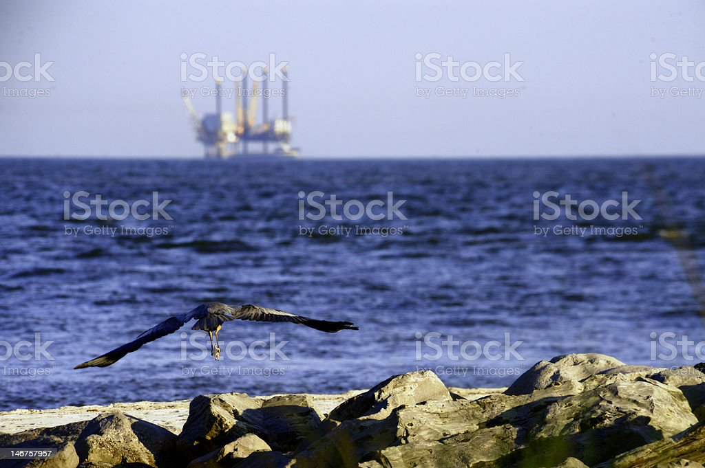 Flying Crane and Oil Rig stock photo