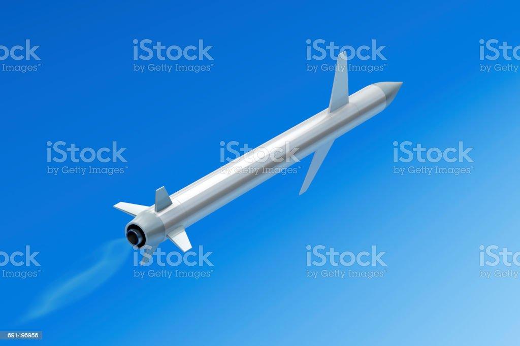 Flying cruise missile stock photo