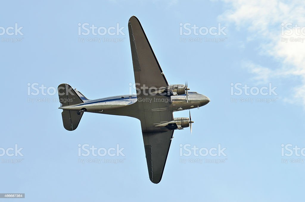Flying DC-3 stock photo