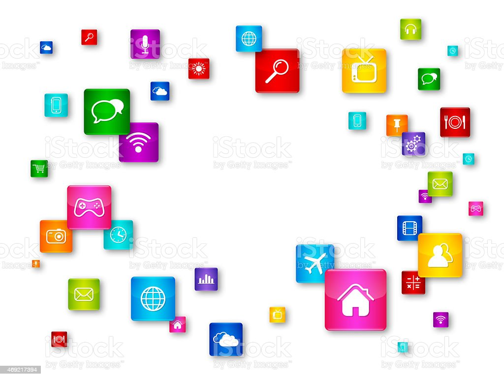 Flying Desktop Icons collection stock photo
