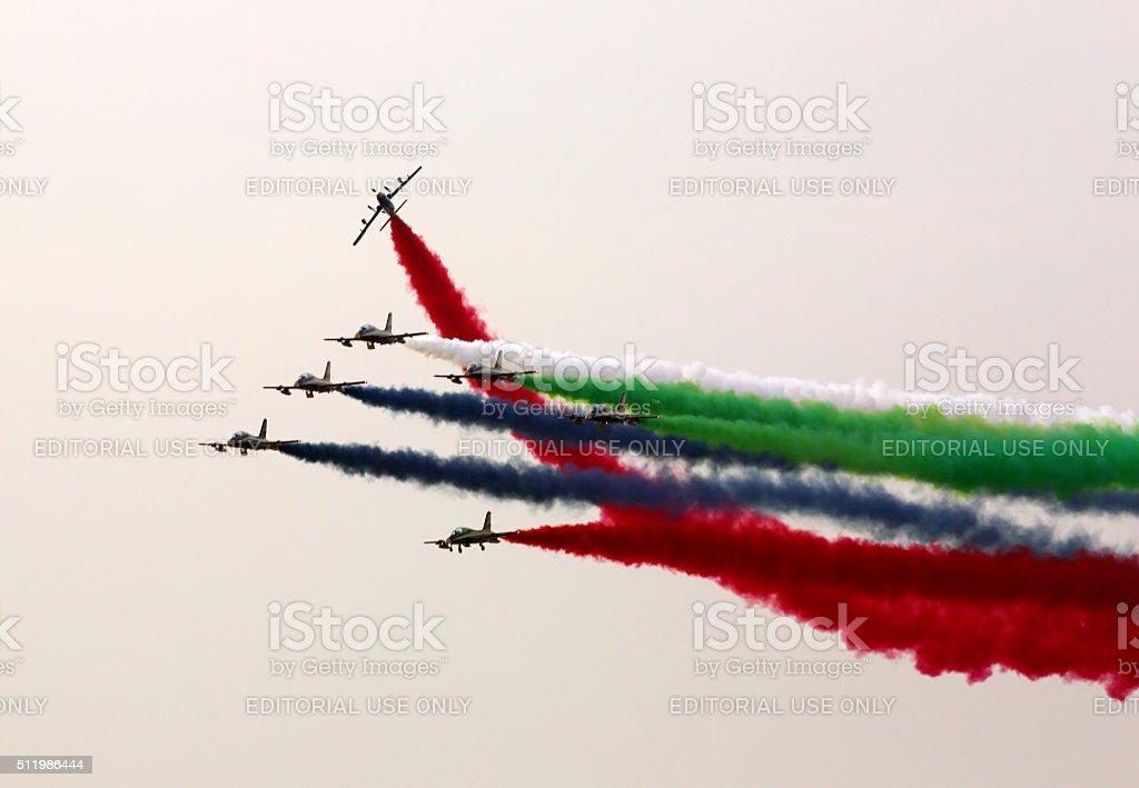 Flying display of The Al Fursan UAE stock photo