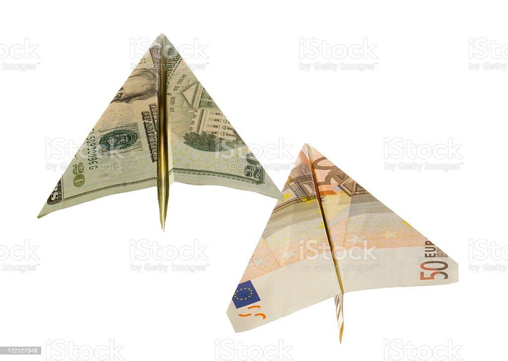 Flying Dollar & Euro stock photo
