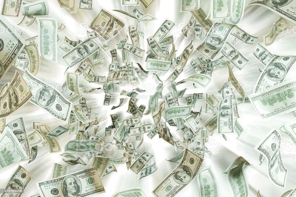 Flying dollar notes over white background. stock photo