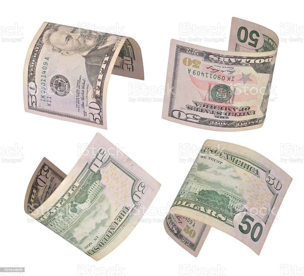 flying dollars bills stock photo