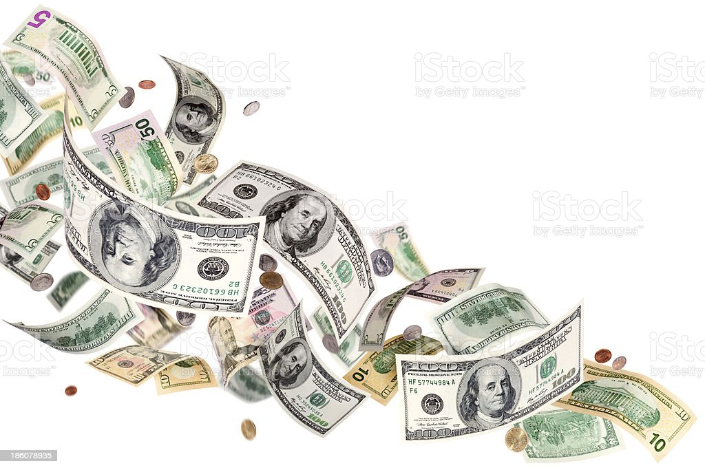 Flying dollars royalty-free stock photo