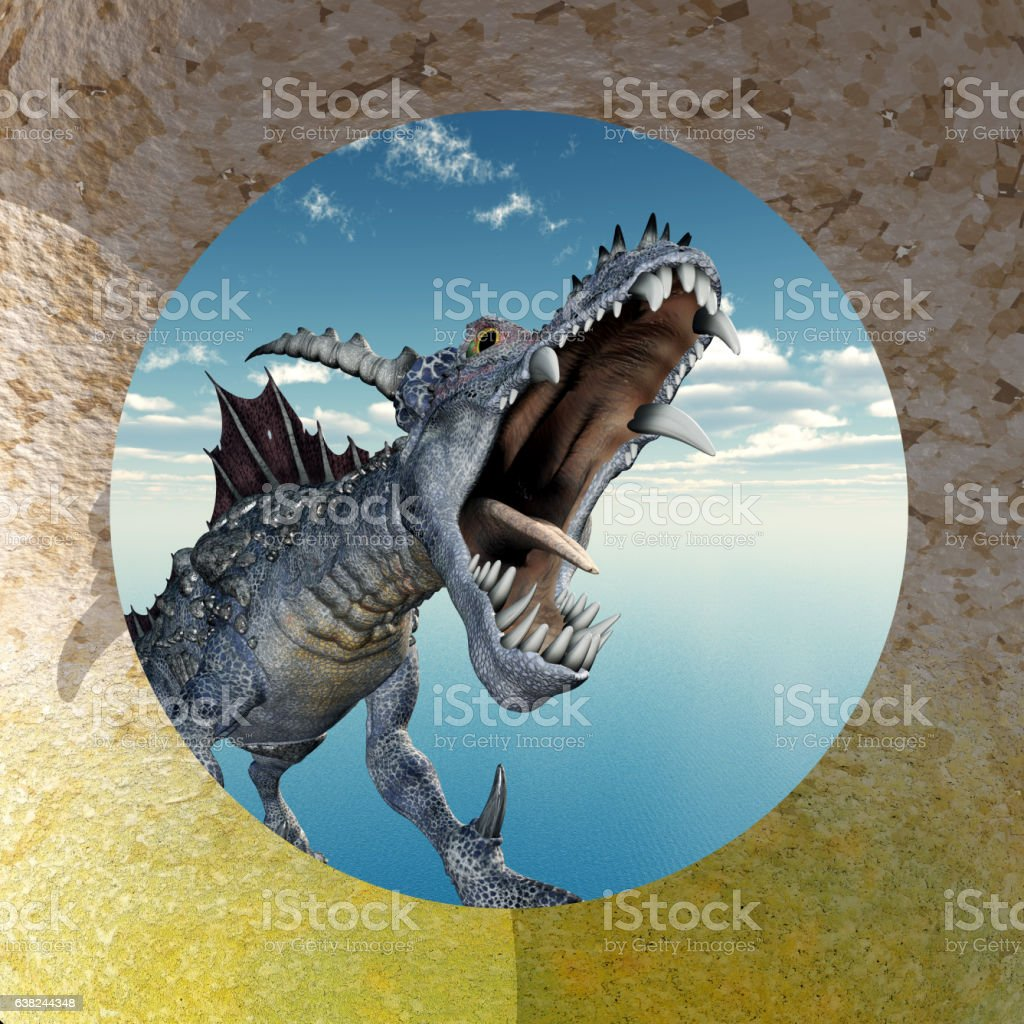 Flying dragon in front of a circular wall opening vector art illustration