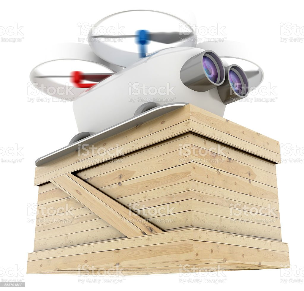 Flying drone delivering goods stock photo