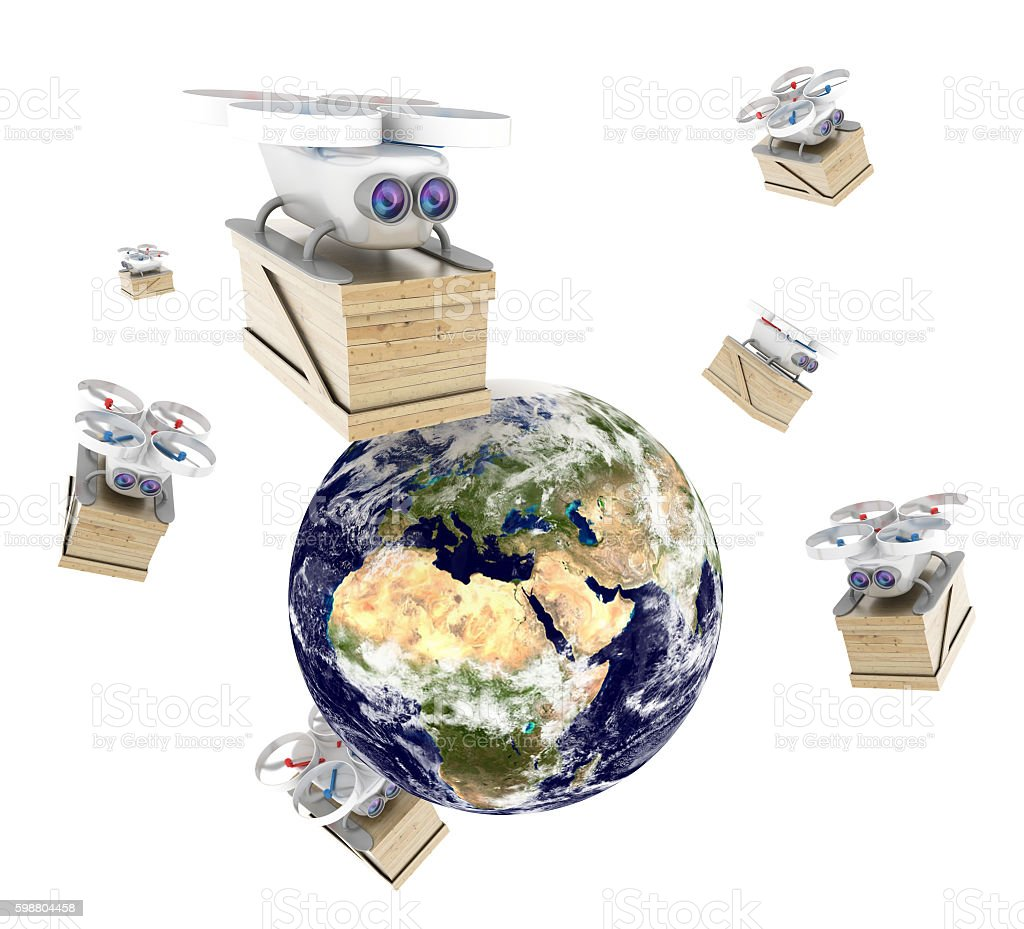 Flying drone delivering goods worldwide stock photo