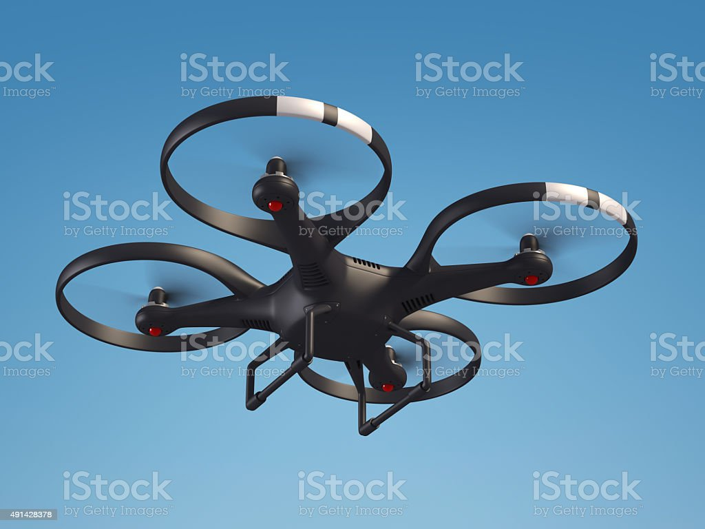 Flying drone in the sky 3d illustration stock photo