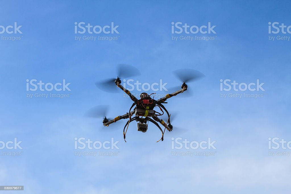 flying drone on the sky stock photo