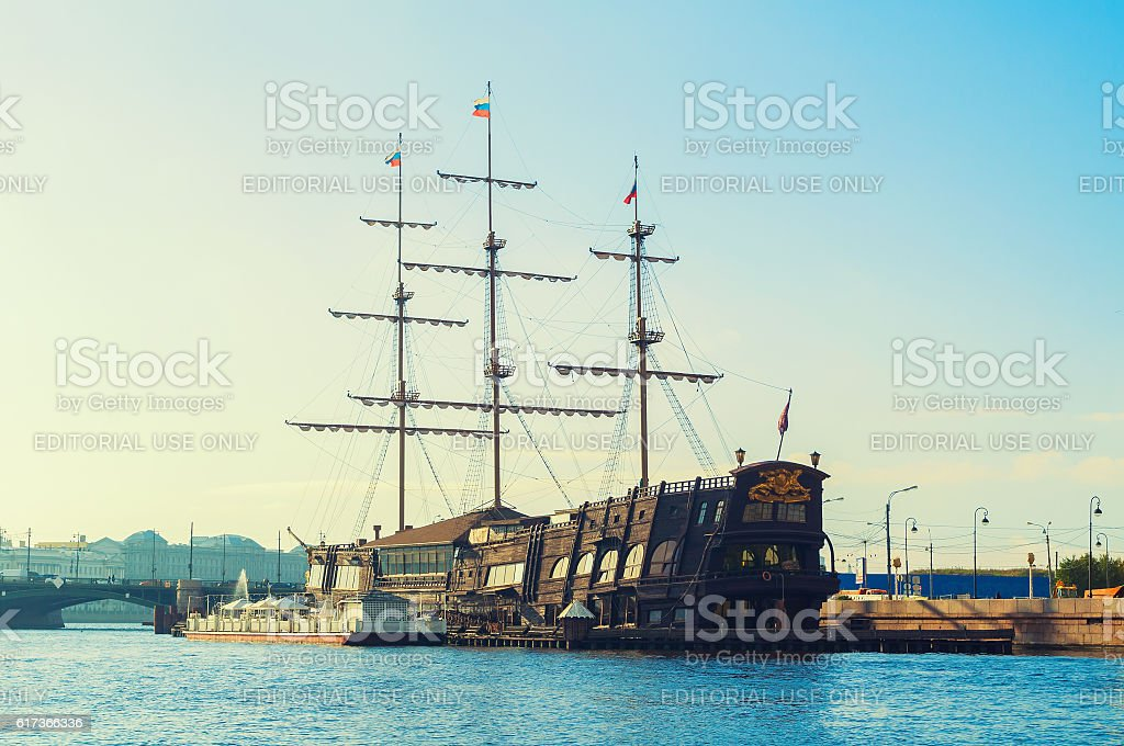 Flying Dutchman - three-mast sailboat and restaurant on the water stock photo