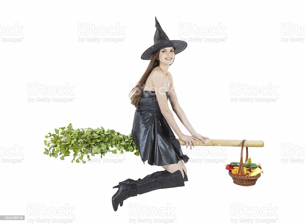 flying eco witch stock photo