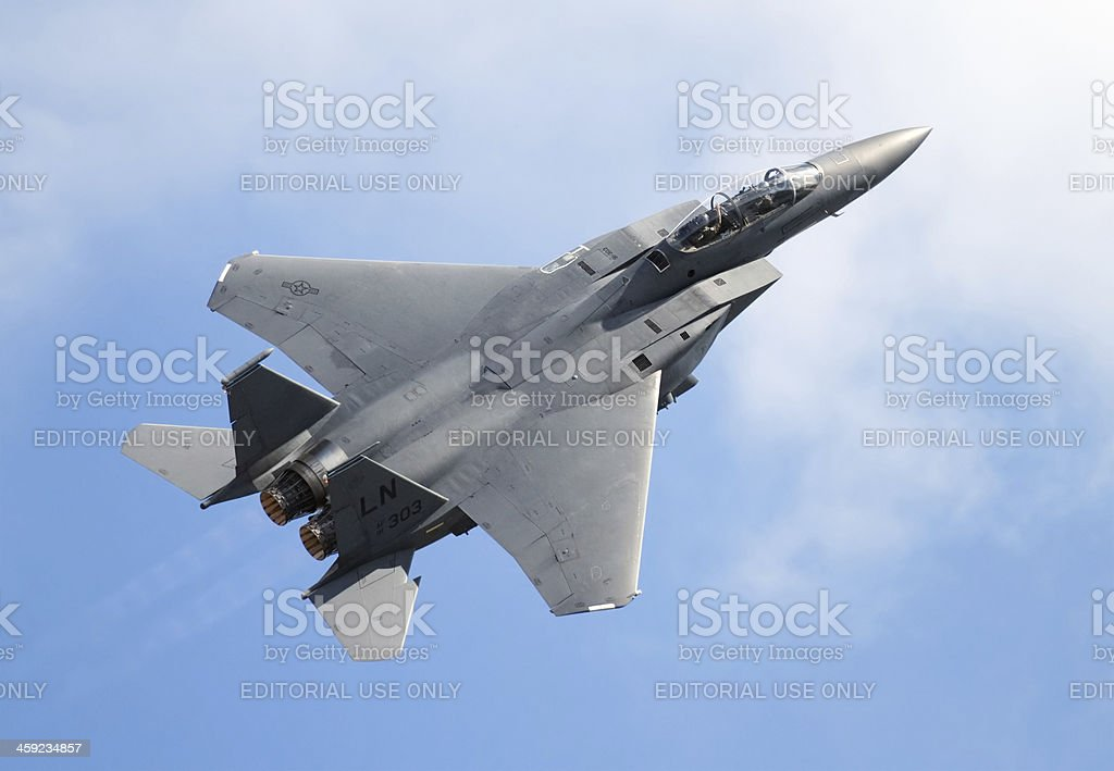 Flying F-15 royalty-free stock photo