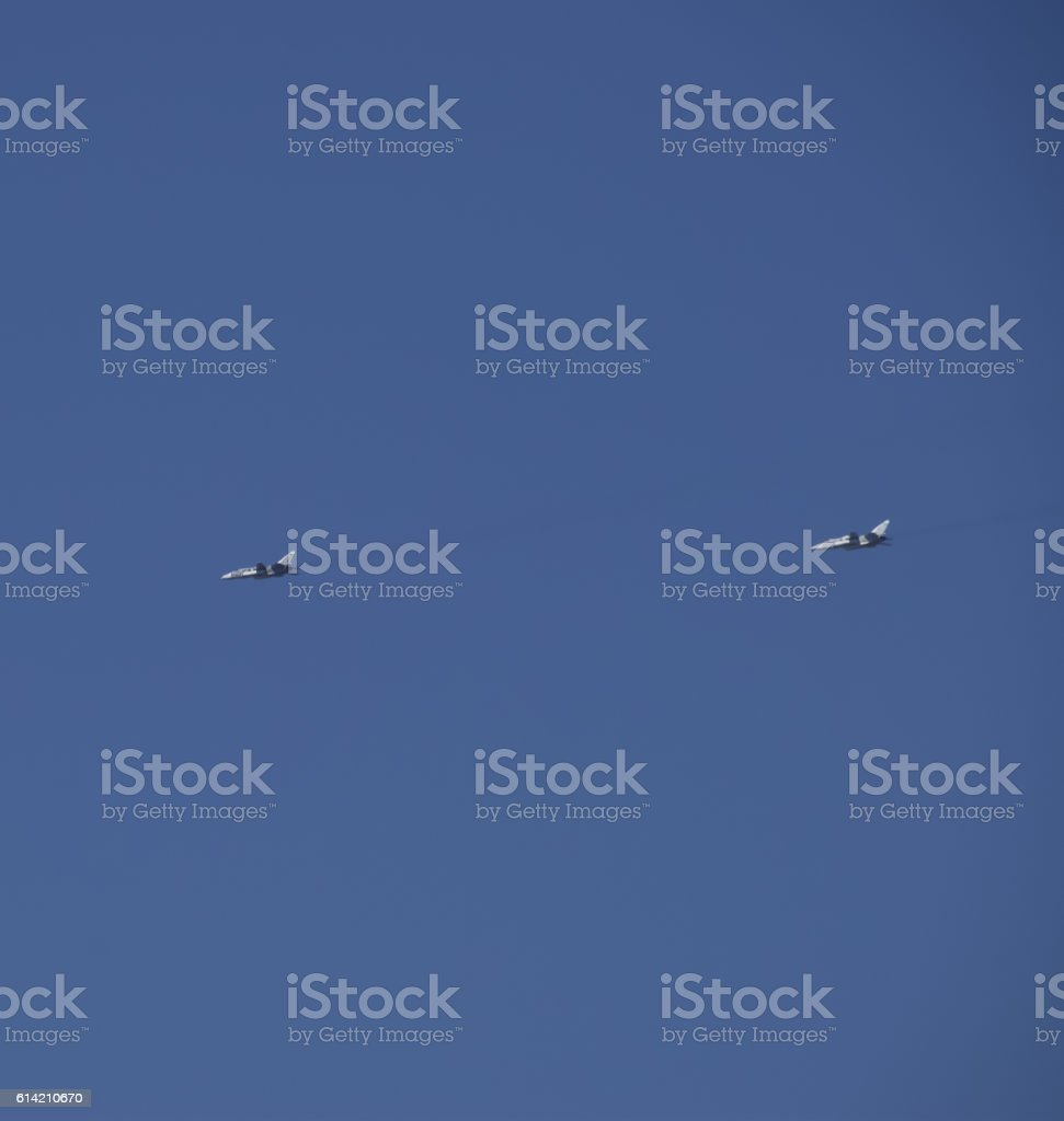 Flying fighter in the sky stock photo