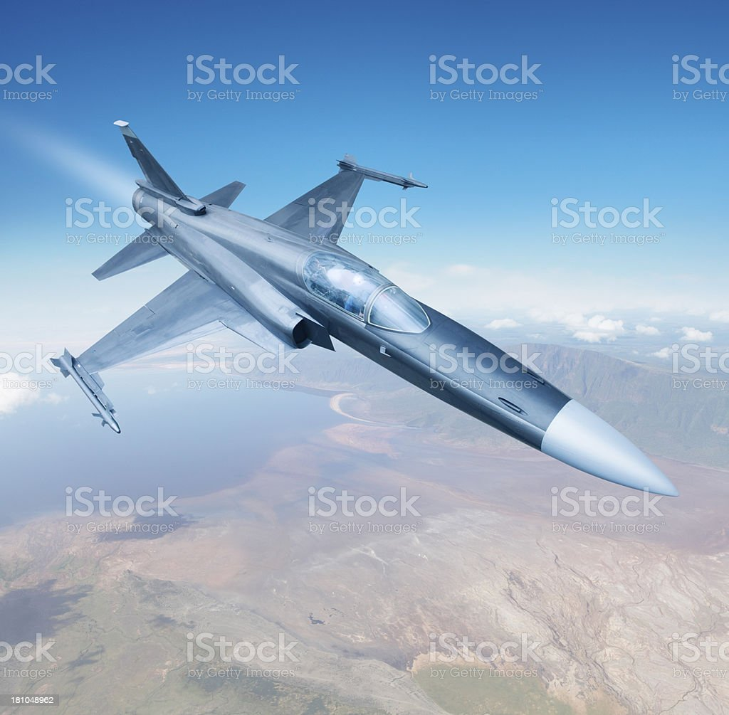 Flying fighter jet royalty-free stock photo