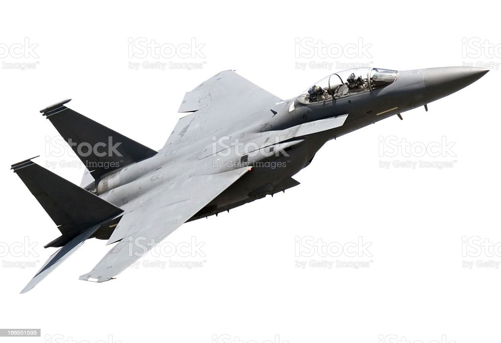Flying Fighter Plane on white background stock photo