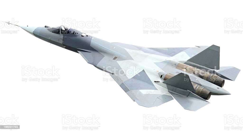 Flying Fighter Plane on white background royalty-free stock photo