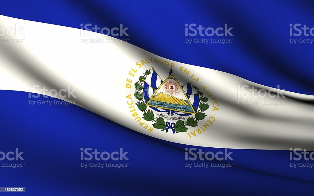 Flying Flag of El Salvador . All Countries Collection royalty-free stock photo