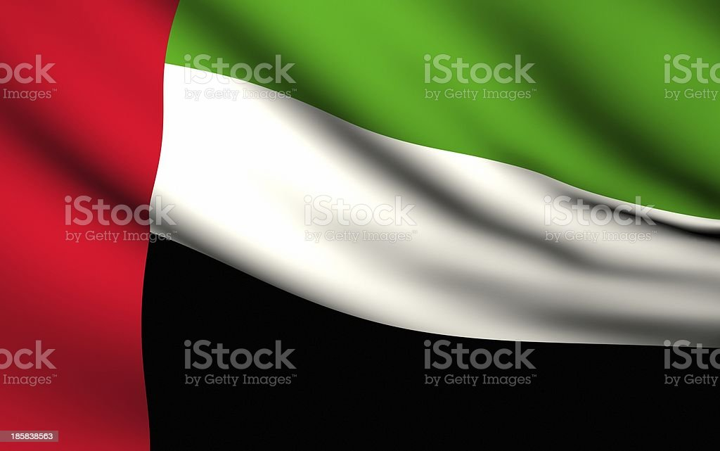 Flying Flag of United Arab Emirates . All Countries Collection stock photo