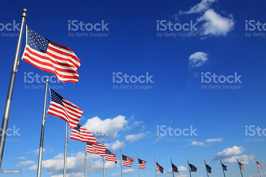 flying flags stock photo
