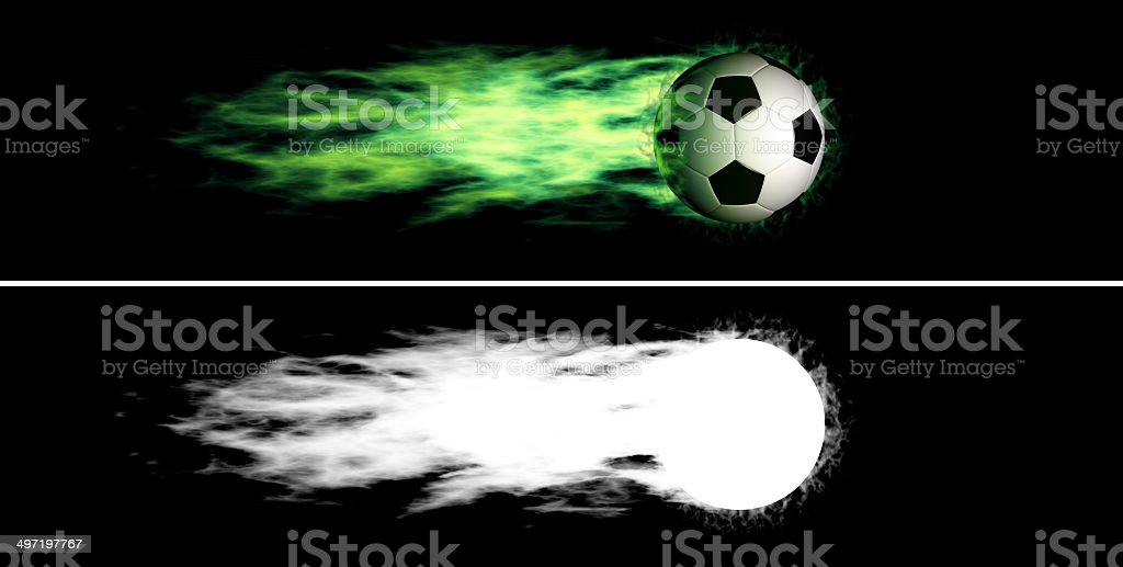 Flying flaming soccer ball royalty-free stock photo