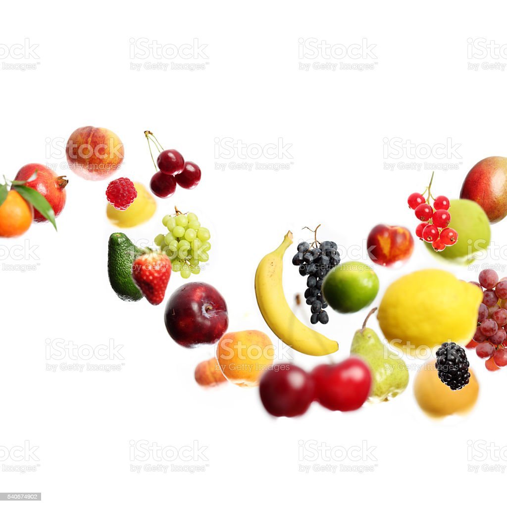 Flying fruits stock photo