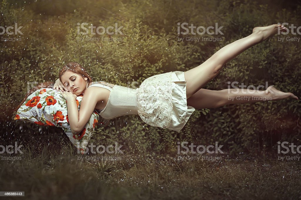 Flying girl. stock photo