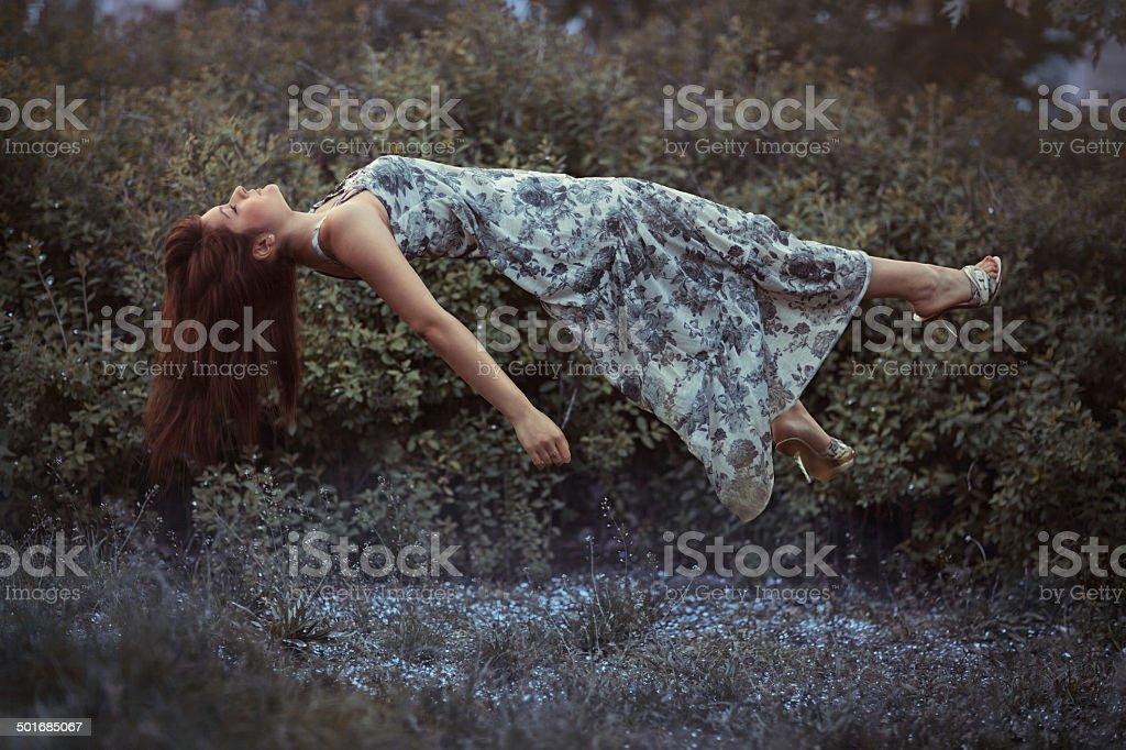 Flying girl. stock photo