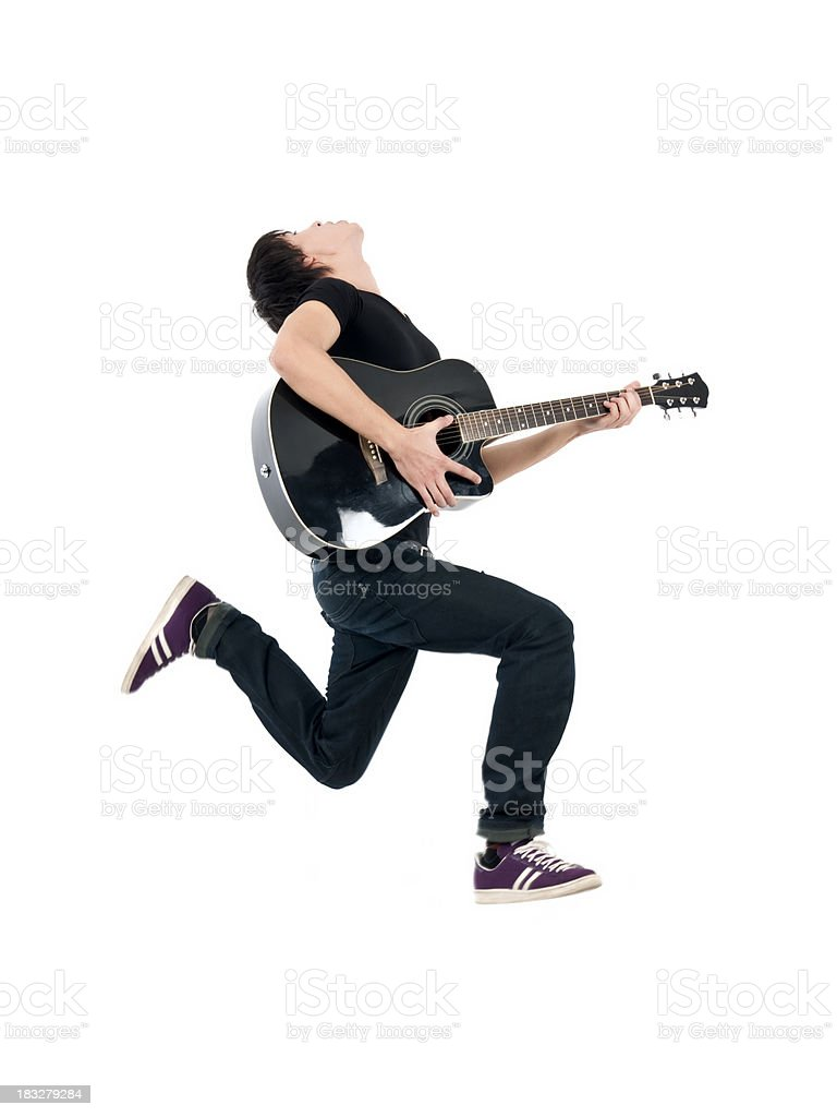 Flying Guitarist stock photo