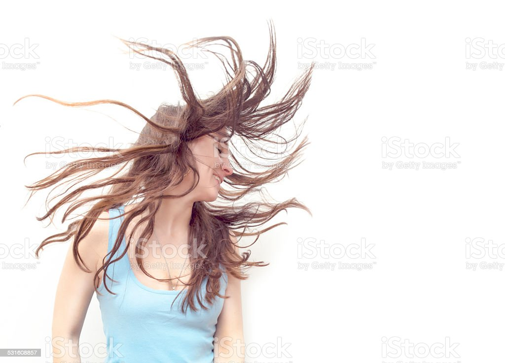 flying hair women stock photo