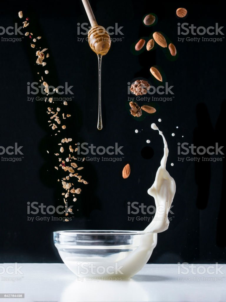 Flying healthy breakfast ingredients stock photo