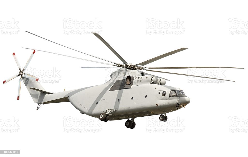 Flying Helicopter isolated on white background stock photo