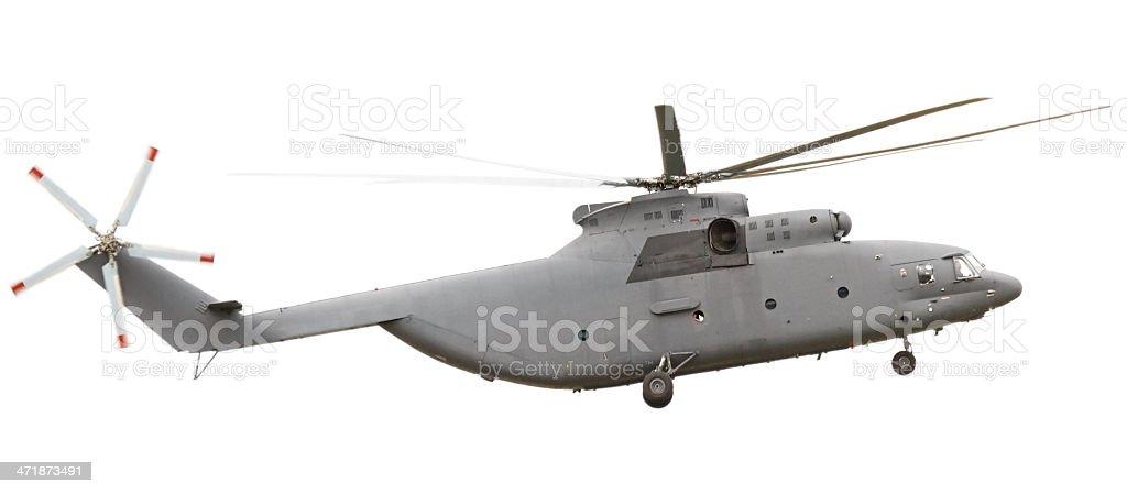 Flying Helicopter isolated on white background stock photo