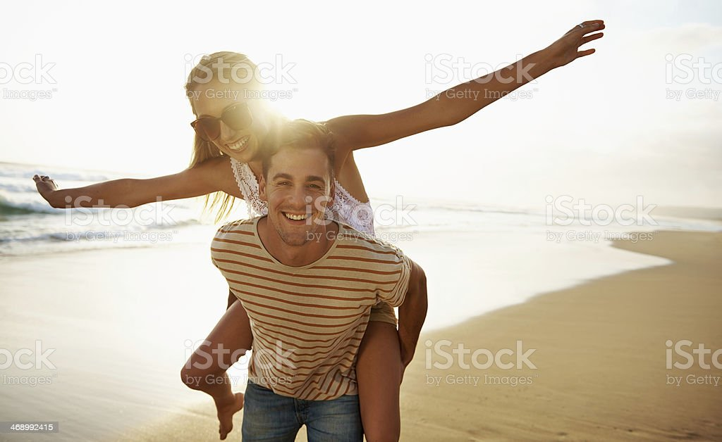 Flying high thanks to young love stock photo