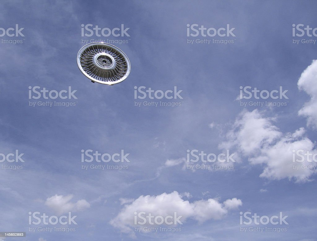 flying hubcap royalty-free stock photo