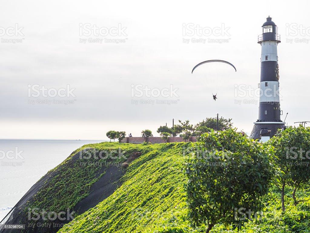 Flying in la Costa Verde (Green Coast) stock photo
