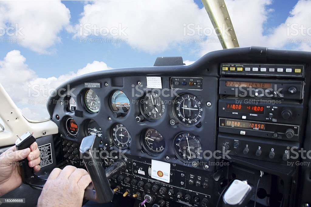 Flying in Small Airplane stock photo