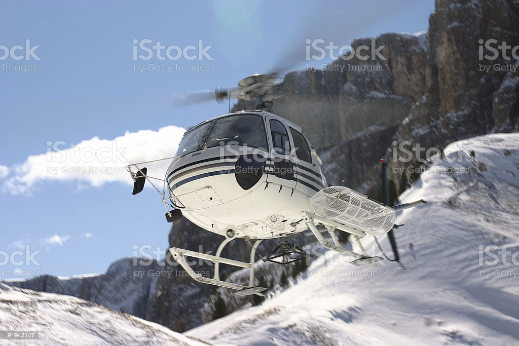 Flying in the dolomites stock photo