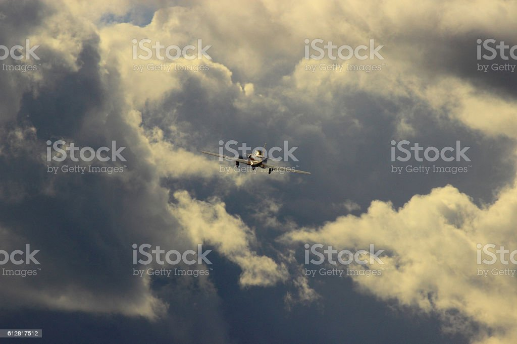 flying into a stormy mess stock photo