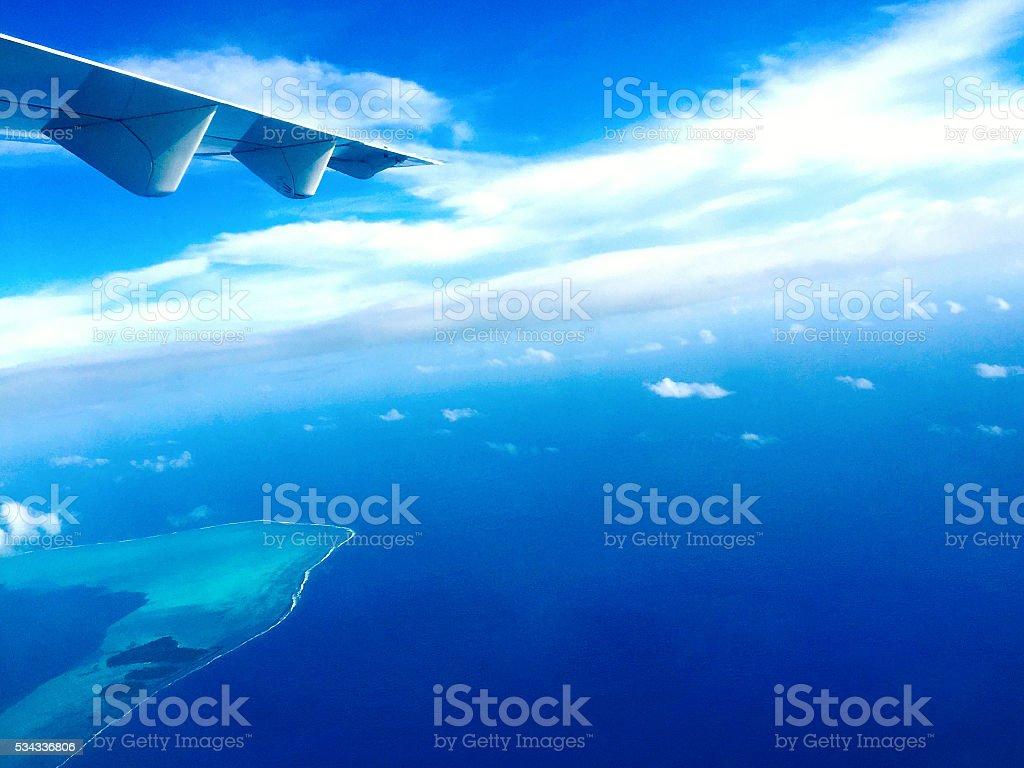Flying into Bora Bora Paradise stock photo