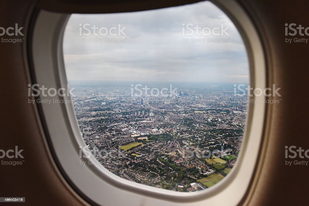 Flying into London stock photo