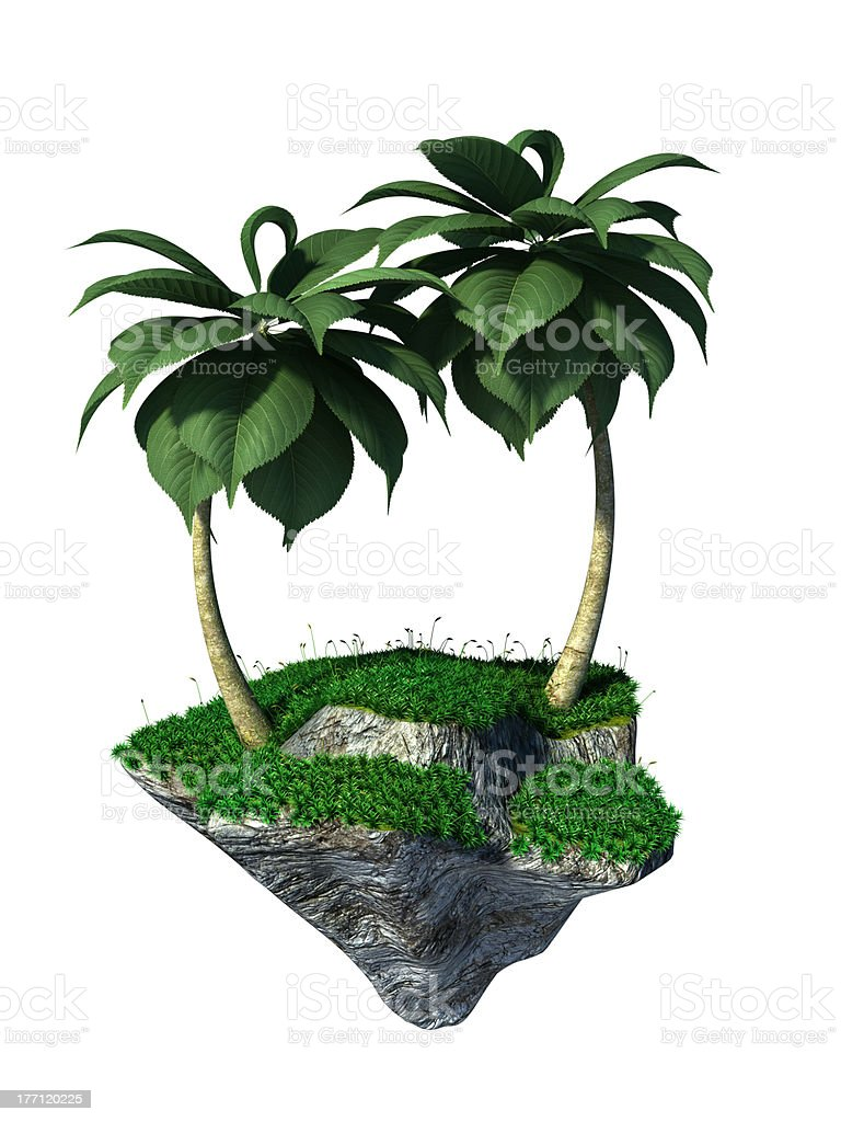 Flying island stock photo