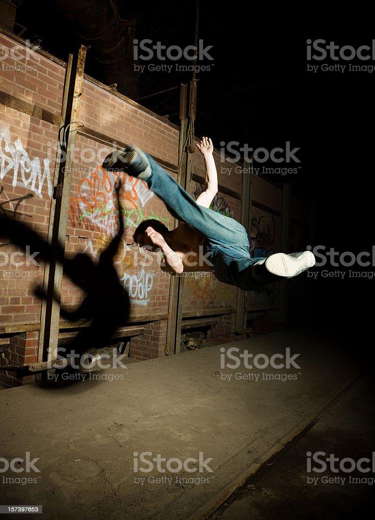 Flying kick stock photo