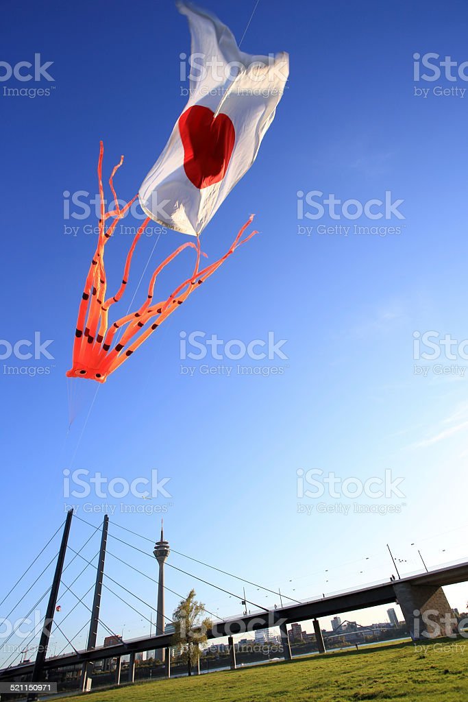 flying kite with Japanese flag in Dusseldorf stock photo
