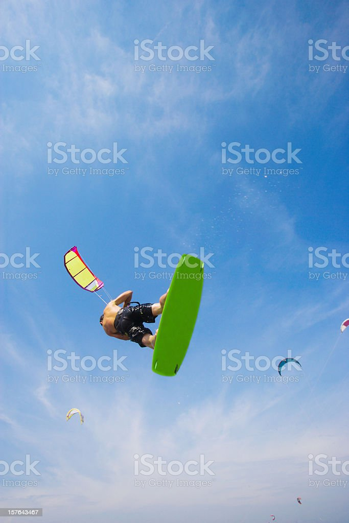 Flying Kiteboarder stock photo