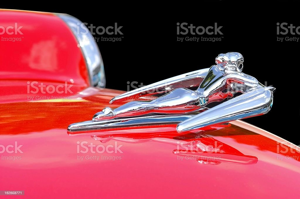 Flying Lady Hood Ornament stock photo